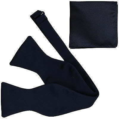 New Men's 100% Polyester Solid Formal Self-tied Bow Tie & hankie set navy blue