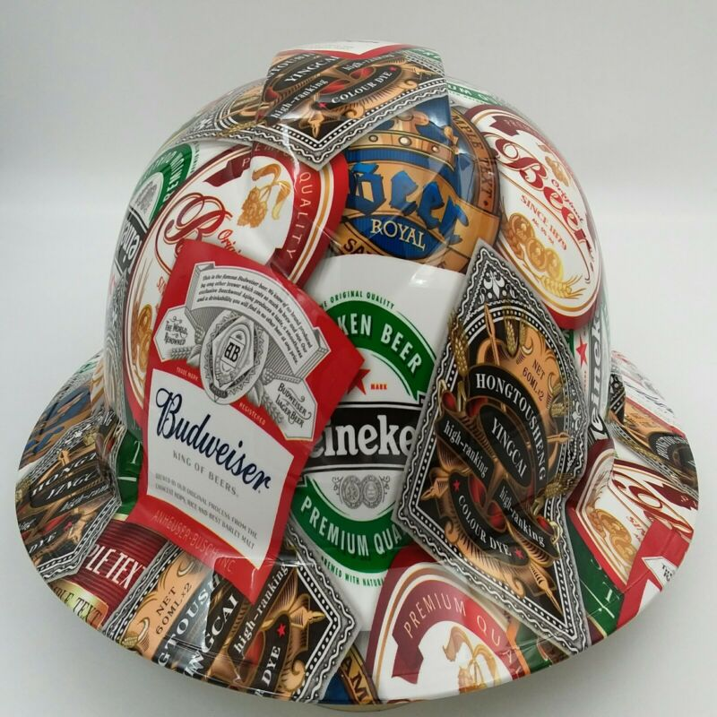 Hard Hat custom hydro dipped , FULL BRIM BEER BOMB CERVESA BULLARD