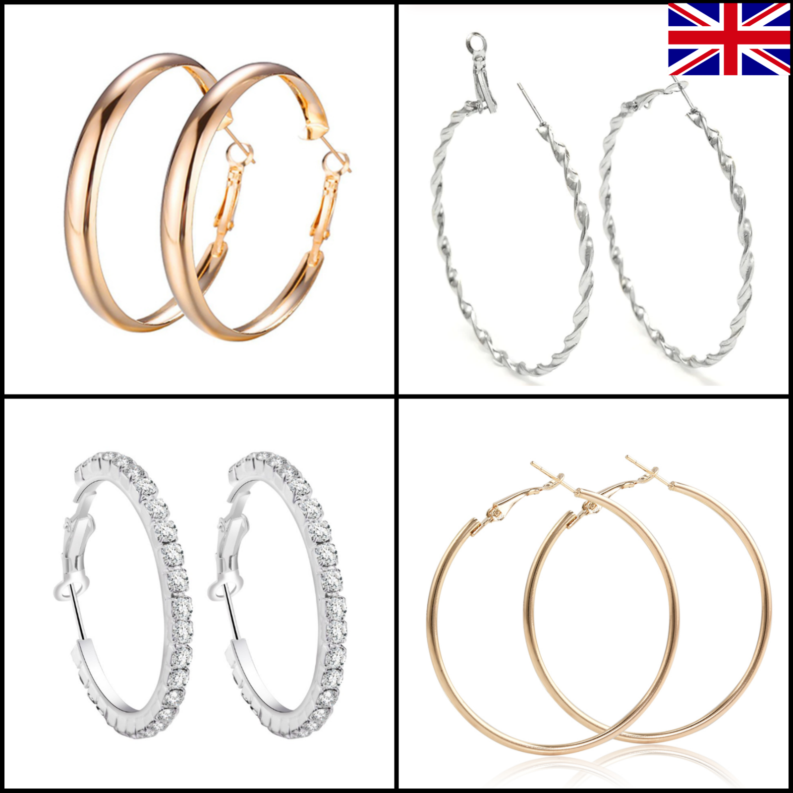 Jewellery - ✨Hoop Earrings Round Large Small Big Fashion Jewellery UK SELLER Gold Silver ✨