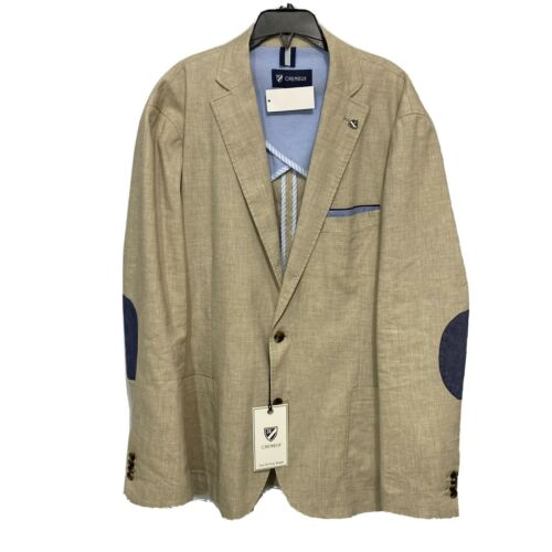 $250 CREMIEUX Off Duty Blazer Sport Coat Jacket XL Light Khaki Elbow Patches Clothing, Shoes & Accessories