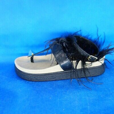 Inuikii Women's Shoes Sandals Ankle Feathers Black 37 40 Flat Leather Np 239 New