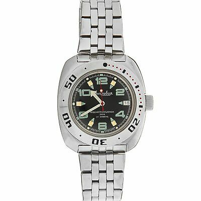 Vostok Amphibian 710334 Watch Scuba Diver Automatic Military Russian Black