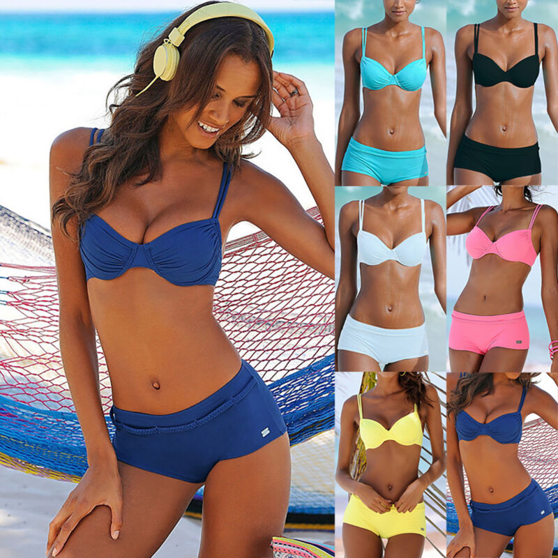 Damen Bikini Set Push Up Gepolsterte Badeanzug Bademode Hotpants Schewimmanzug