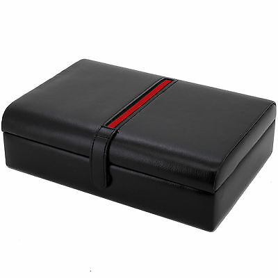 Tech Swiss TS8654BK Valet Leather Black For Watches Pens Eyeglasses Jewelry Case