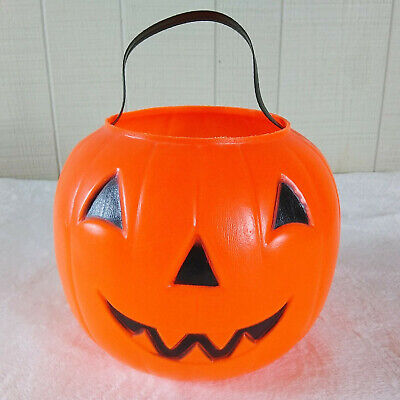 VTG Halloween Pumpkin Bucket Empire 1980 Plastic Blow Mold Trick Treat Vintage