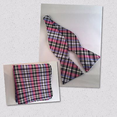 Multicolor blue, yellow, pink, and black Silk Self Tie Bow Tie and Pocket Square](Pink And Black Bow)