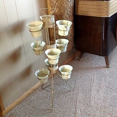 Vintage Mid Century 9 Planters In Stand Retro Deco Atomic Eames 1950'S 1960'S