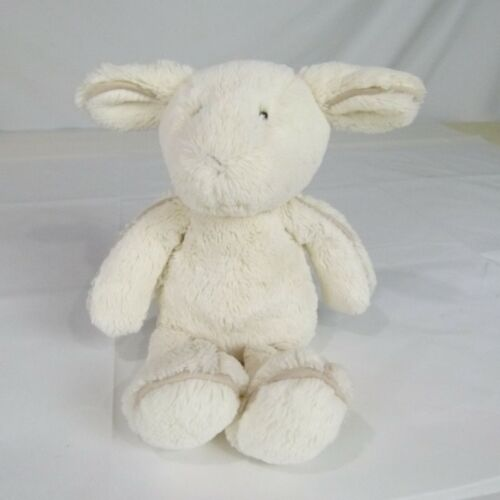 JELLYCAT PIPER LAMB PLUSH WHITE TAN PIPING LINED SUEDE 12""