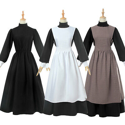 Women Pioneer Costume Floral Prairie Dress Cotton Deluxe Colonial Maid Dress - Womens Colonial Dress