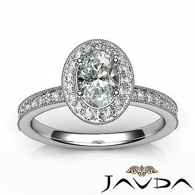 Milgrain Edge Pave Bezel Set Halo Oval Diamond Engagement Ring GIA F VVS2 1.21Ct 3
