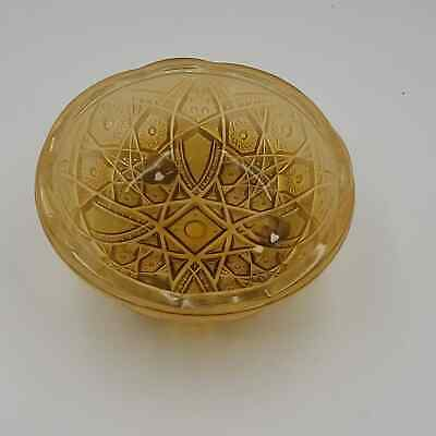 Vintage amber Carnival Glass footed Bowl