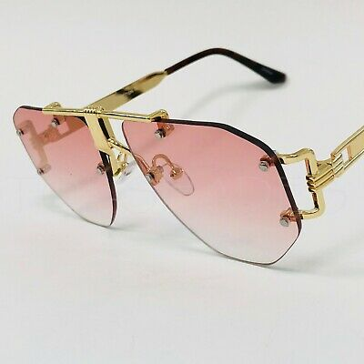 Flat, Pink and Black Lens Gold Metal 2019 Miami Style Women Men New Sunglasses (Shades And Style Sunglasses)