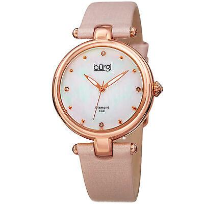 Women's Burgi BUR169PK Mother of Pearl Diamond Dial Genuine Leather Strap Watch