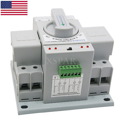 Automatic Transfer Switch Dual Power 2p 63a 150138115mm Toggle Switch 110v Usa