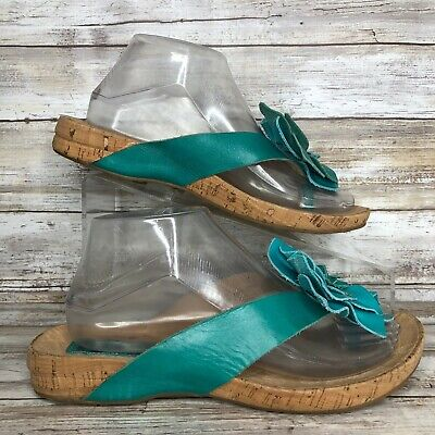 Floral Leather Thong Sandal - Kork-Ease Womens 8M Teal Leather Thong Flip Flop Sandal Casual Floral Accent