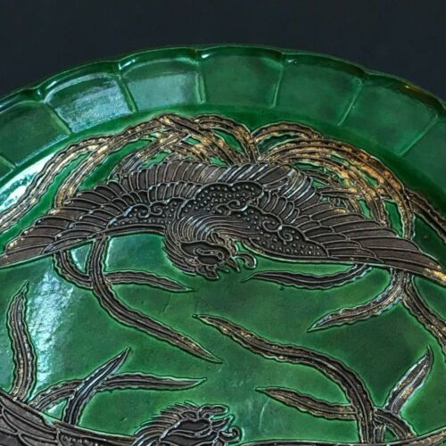 l Chinese Antique Green Glazed dish marked in bottom