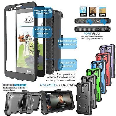 For LG G Stylo 2/Stylus 2 Armor Refined Phone Cover Belt Clip Holster Hard Case
