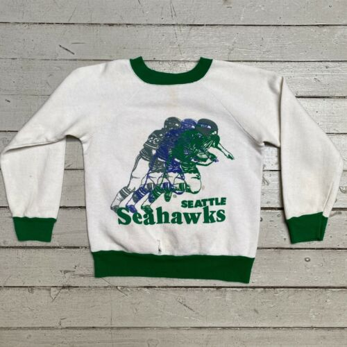VTG 1980s SEATTLE SEAHAWKS Kids Raglan Ringer Single Stitch Sweatshirt Youth 6/7