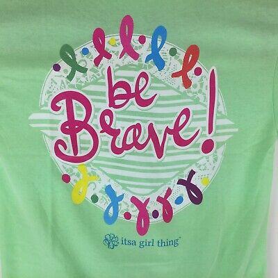 Itsa Girl Thing T-Shirt Ribbon Cancer Awareness Be Brave Tee Lime Green - New