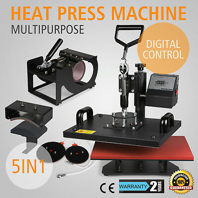 5in1 Digital Transfer Sublimation Heat Press Machine T-shirt Mug Plate 15x12