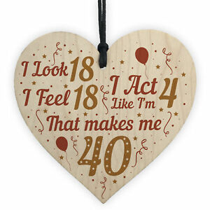 1b0bc6c5ea Funny 40th Birthday Gifts For Men Women 40th Decorations Wooden Heart  Keepsake