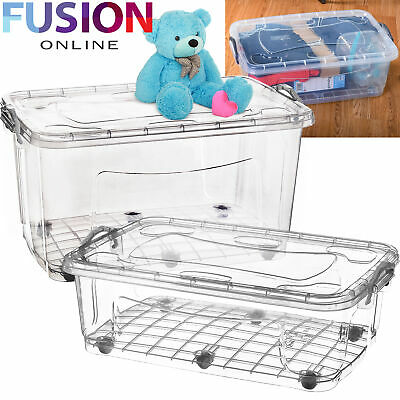 Plastic Storage Box with Wheels Clear Boxes Under Bed Clip Locking Home Office