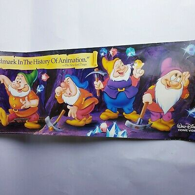 Vtg Disney Snow White & The Seven Dwarfs Vhs Promo Poster 66 inches long