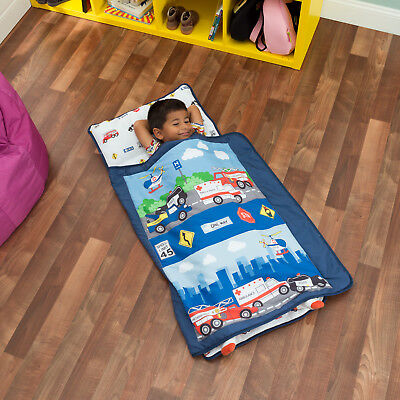 Everyday Kids Toddler Nap Mat with Pillow -Fire Police -