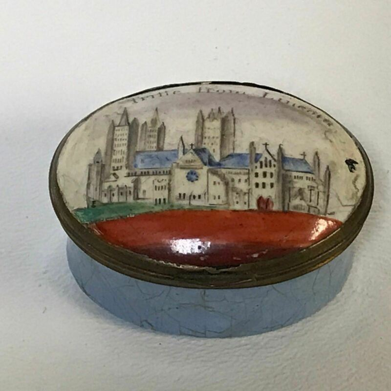 "18th C. English Battersea Bilston Enamel Patch Box ""Trifle From Lincoln"""