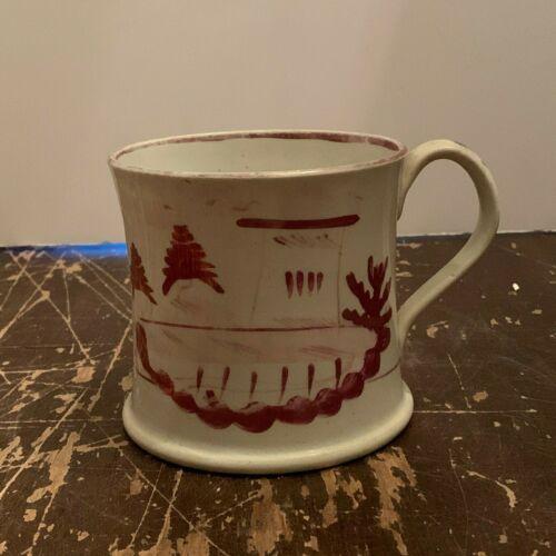 Antique Cranberry Lustreware Large Coffee Mug Castle Type Design