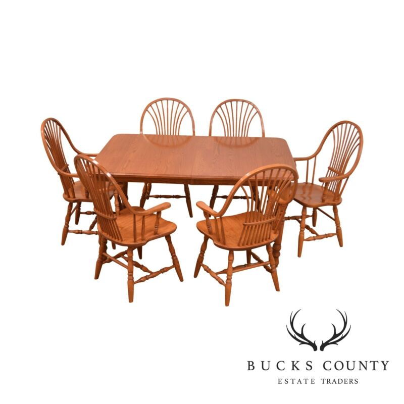 Custom Quality Oak Table & 6 Wheat Back Windsor Chairs Dining Set