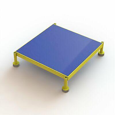 Steel Work Platform Wadjustable Height Yellow 24inwx24inlx9in-14inh 800lb Cap