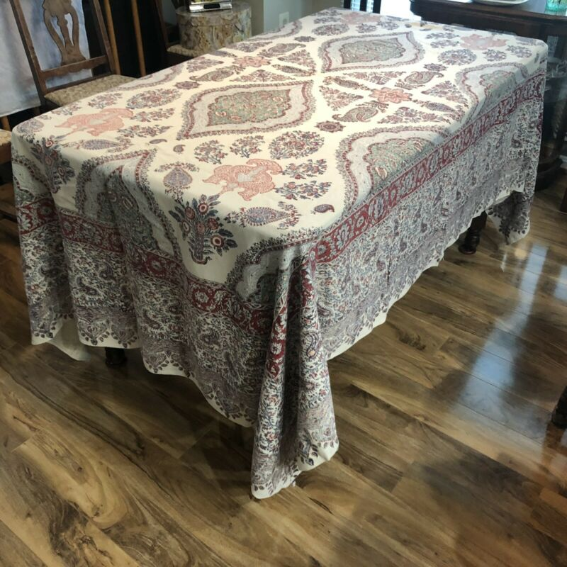 """VINTAGE 1960's Middle Eastern Tablecloth 67""""x98"""" Hand Printed and Signed."""