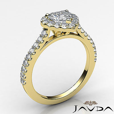 Halo French Pave Set Heart Diamond Engagement Wedding Ring GIA F Color VVS2 1Ct 1