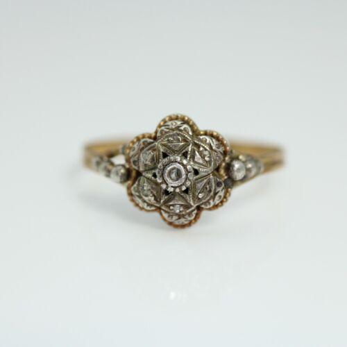 Antique rose cut diamond cluster ring,  14k gold size 7.25 Wedding Ring