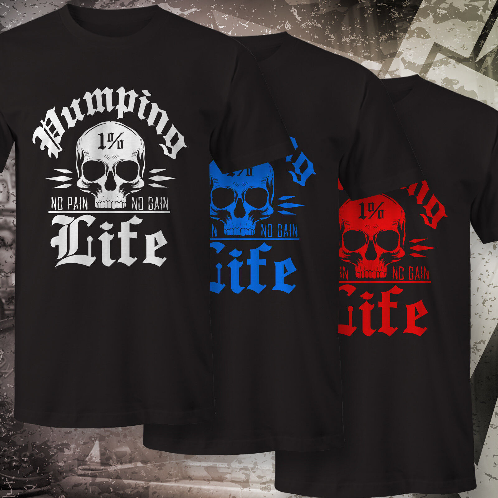 Pumping Life 1% No Pain No Gain T-Shirt Fitness Bodybuilding Athletic MMA