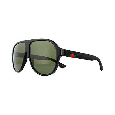 Gucci Sunglasses GG0009S 001 Black Rubber Green
