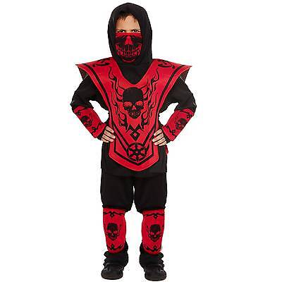 r Kostüm Ninjago rot/schwarz Faschingskostüm 4-12 Jahre (Schwarz Ninjago Kostüm)