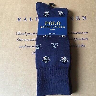 NWT POLO Ralph Lauren MEN Pirate & Skull Trouser Socks 2-pack One size navy - Pirate Socks