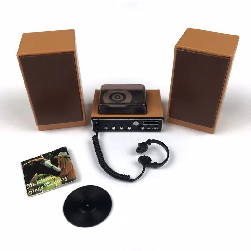 Vtg TOMY Smaller Homes Dollhouse Stereo Speakers Record Player Headphones Album