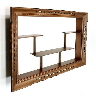 """Vtg 35"""" Wood Wall Hung 3 Shelf Rack Display Curio Cabinet Knick Knack Holder for sale  Shipping to Canada"""