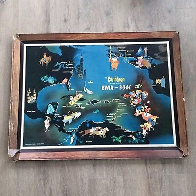 Vintage 1963 Travel Caribbean Bwia British West Indies Airlines Poster Litho