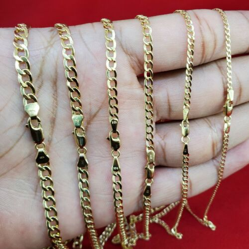 "10K Yellow Gold 2mm-5mm Curb Cuban Chain Link Pendant Necklace Bracelet, 7""-30"""