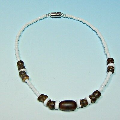 Sup Surfer Girl Puka Shell Anklet Surf Surfing Beach 9 Inch Coconut Glass Beads