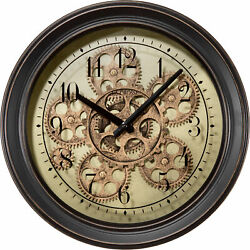 La Crosse Technology 13in. Metal Clock with Moving Gears - Model#BBB85289