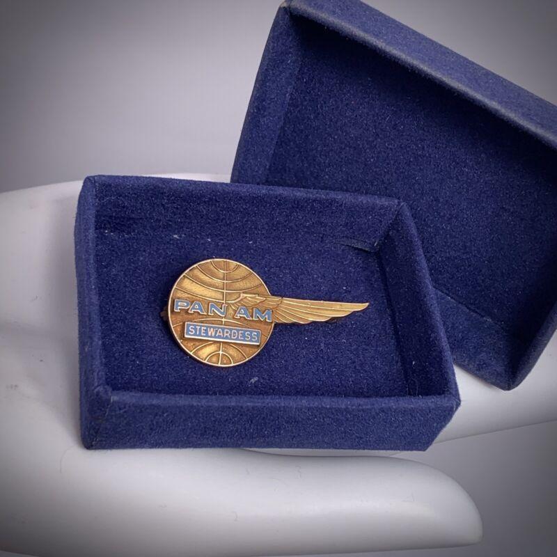 Pan Am Stewardess Pin 10k Yellow Gold Winged Globe Badge