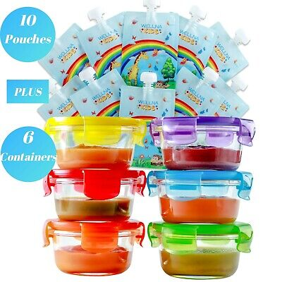 Baby Food Storage Container Glass Jars (6) & Food Pouches (10) Gift Set