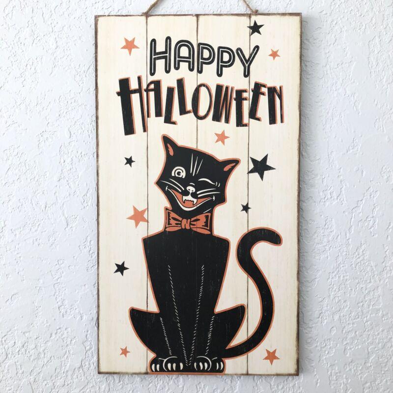 Vintage Halloween Retro Style Black Cat Happy Halloween Wall Wood Hanging Sign