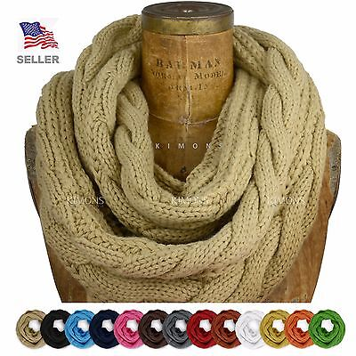 AW Oversize Cable Knit Women Winter Infinity Scarf Circle Long Shawl Wrap (Knitted Winter Wrap)