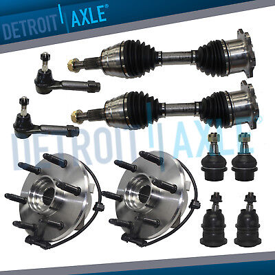 Chevy Silverado1500 GMC Yukon Front CV Axles Ball Joints Wheel Bearings Tie Rods